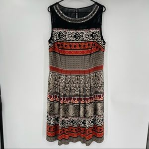 Sandra Darren Black & Orange Boho Dress